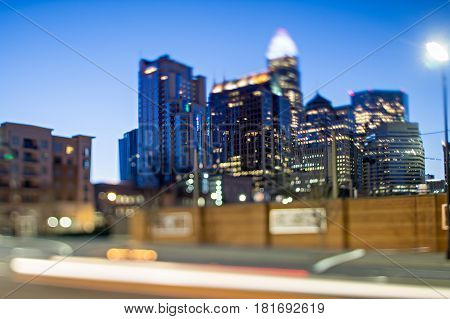Charlotte North Carolina Morning Skyline With Tilt Effect By Lens