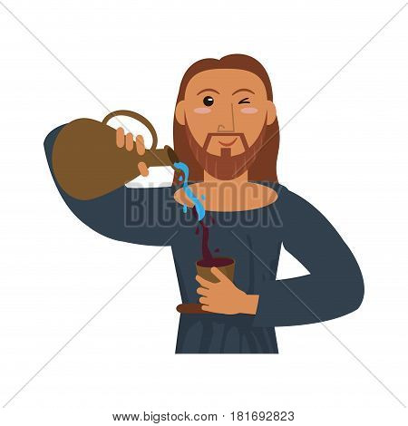 jesus christ holding clay pitcher water wine vector illustration eps 10