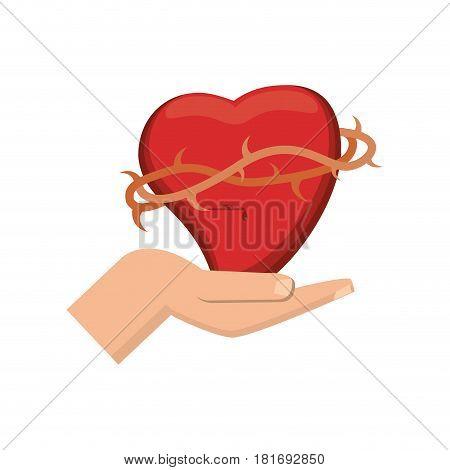 hand holding sacred heart catholicism vector illustration eps 10