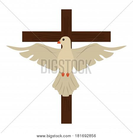 holy spirit with cross sacred image vector illustration eps 10