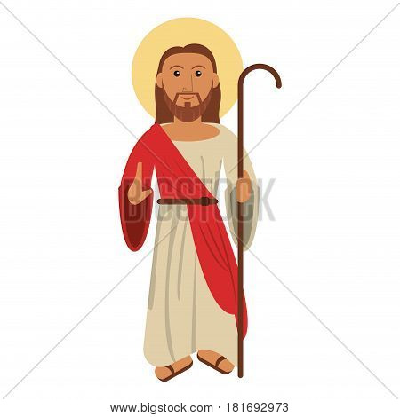 jesus christ blessed with stick vector illustration eps 10