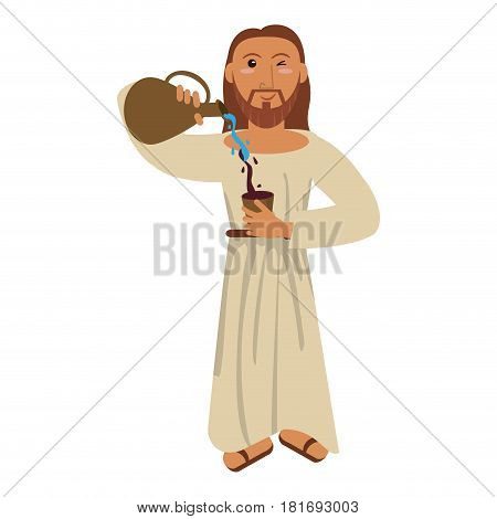 jesus christ miracle water wine concept vector illustration eps 10