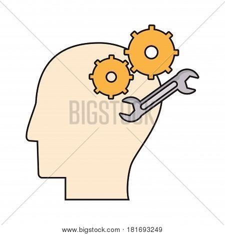 profile head gear spanner repair vector illustration eps 10