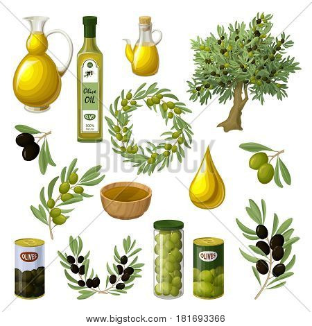 Cartoon olive oil elements set with tree branches wreath pitchers cans jars drop bowls isolated vector illustration