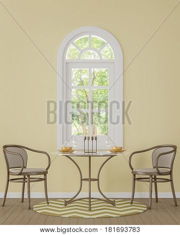 Modern classic dining room with yellow color 3d rendering image.There is window overlooking the surrounding nature and forest