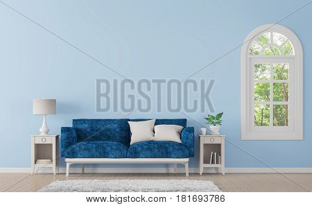 Modern classic living room with blue color 3d rendering image.There is window overlooking the surrounding nature and forest