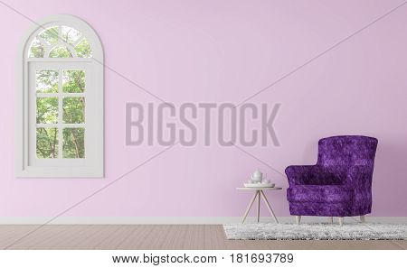 Modern classic living room with purple and pink color 3d rendering image.There is window overlooking the surrounding nature and forest