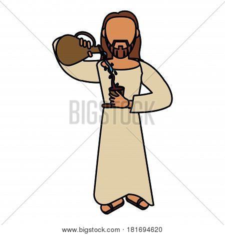 jesus christ miracle catholic vector illustration eps 10