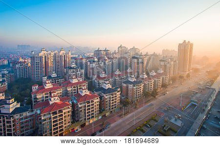 February 29 2016 China: Guangzhou City Building in the morning taken from a high angle