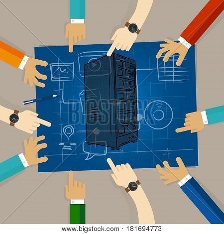 server technology infrastructure web hosting hardware planning sharing team work on paper looking to blue print concept of planning hands pointing collaboration group in office vector.