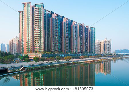 march2 2016 China: Guangzhou City Building in the morning taken from a high angle