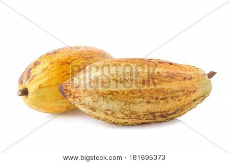 Cacao Fruit, Raw Cacao Beans, Cocoa Pod On White Background