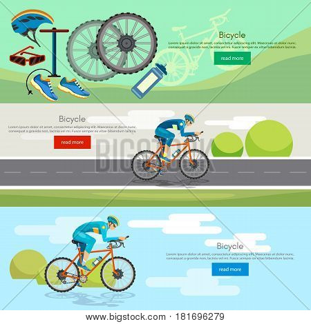 Cycling banner active lifestyle sport icon set bicycle riders vector. Sports cycle races concept