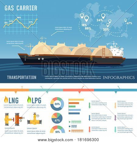 Carrier ship LNG transportation by sea. Oil and gas industry infographics. LNG tanker natural gas