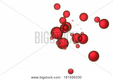 Red bubbles soars over a white background