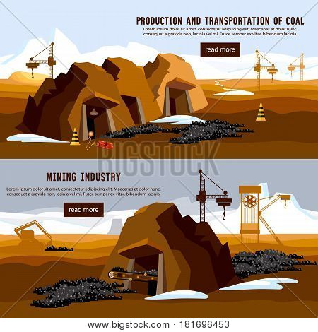 Excavator working on open pit coal mine banner. Process of coal mining bulldozers conveyor cartoon