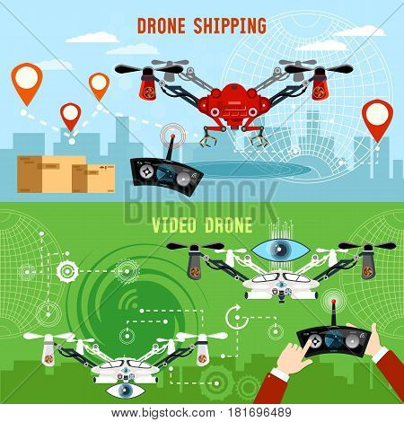 Drone for delivery shadowing and entertainments modern technologies. Drone flat banner modern drone and remote control for the quadrocopter carrying cardboard box