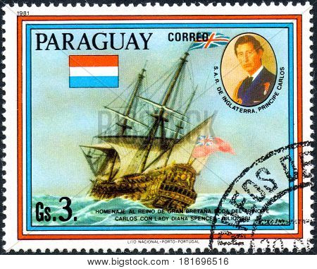UKRAINE - CIRCA 2017: A postage stamp printed in Paraguai shows sailing ship HMS Resolution and portrait of Prince Charles from the series Wedding of Prince Charles and Lady Diana Spencer circa 1981
