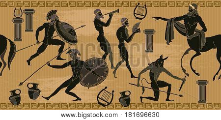 Ancient Greece scene seamless pattern. Black figure pottery. Ancient Greek mythology. Centaur people gods of an Olymp. Classical Ancient Greek style seamless background