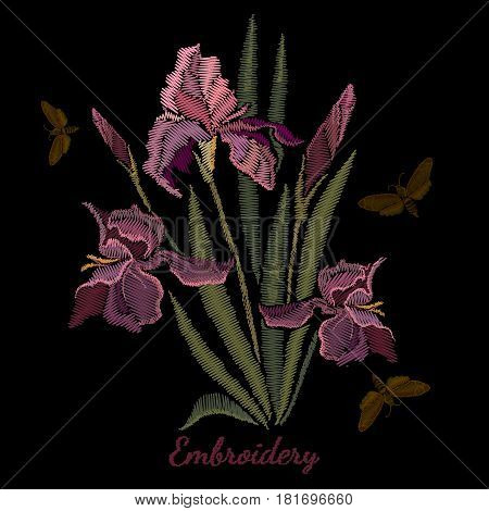 Embroidery irises. Beautiful spring purple irises against black background embroidery template