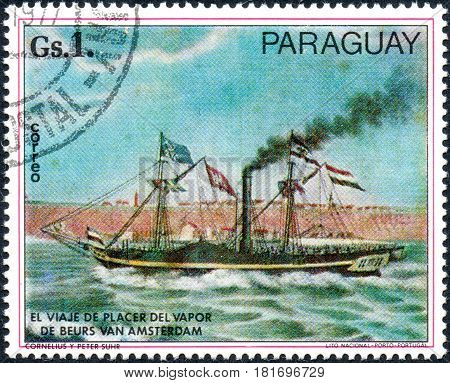 UKRAINE - CIRCA 2017: A postage stamp printed in Paraguai shows steamship De Beurs van Amsterdam by C. and P. Suhr from the series Paintings German ships circa 1977