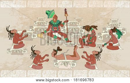 Ancient Maya Aztec Inca. Traditional Mayan frescoes. Sacrifices scene. Ancient Maya in traditional suits. Murals ancient Mayan art