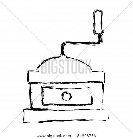 monochrome sketch hand drawn with coffee grinding machine with crank vector illustration