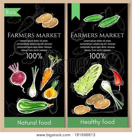 Vegetables banner. Fresh vegetarian healthy food of vector chalk sketch.Eco farmer vegetables potato carrot cabbage pepper. Healthy nutrition concept
