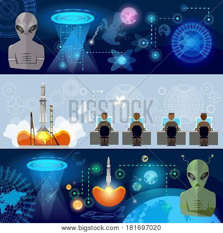 UFO banner kidnapping aliens in space. First contact with aliens secret files of communication with extraterrestrial civilizations