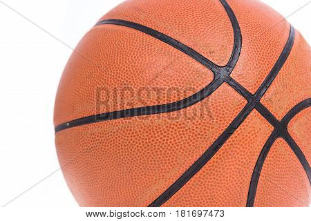 Old basketball basket ball isolate on over white background
