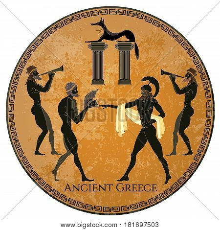 Ancient Greece scene. Black figure pottery. Classical Ancient Greek style