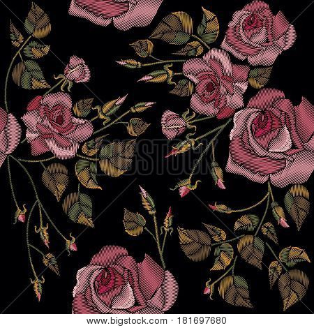 Roses embroidery seamless pattern on a black background. Classic style embroidery beautiful roses flowers hand drawn pattern vector