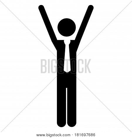 monochrome pictogram of man with tie and arms extended vector illustration