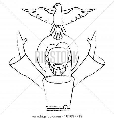 jesus christ holy spirit devotion sacrifice skecth vector illustration eps 10