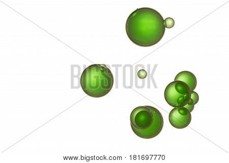 A group of green ink bubbles soars over a white background