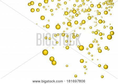 Yellow spray bubbles is isloated over a white background