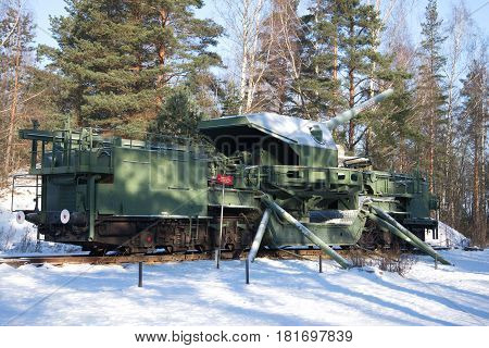 LENINGRAD REGION, RUSSIA - FEBRUARY 08, 2017: A 180-mm railway artillery cannon TM-1-180 in fighting situation in the February sunny day. Fort