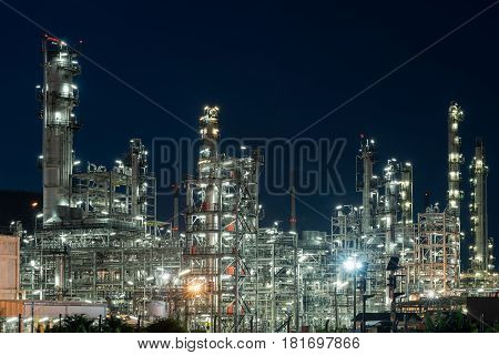 Oil Industry Refinery factory heavy industry at night petrochemical plant Petroleum
