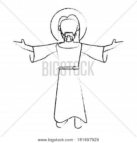 jesus christ devotion sacrifice image sketch vector illustration eps 10