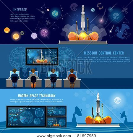 Mission Control Center start rocket in space. Modern space technologies return report of start of rocket. Space shuttle taking off on mission future spaceport