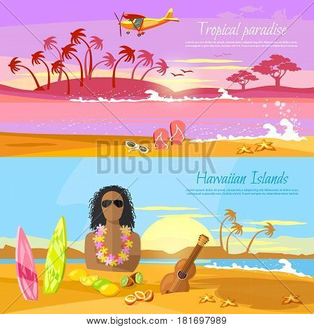 Travel in summer. Tropical beach banner paradise island for rest. Travel to Hawaii Tahiti. Surfer on beautiful beach. Perfect tropical paradise