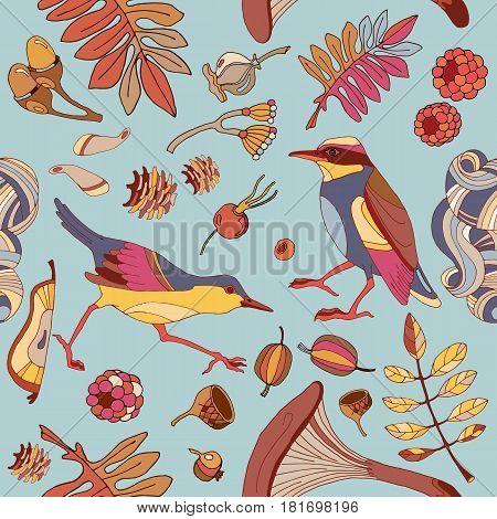 Birds in autumn forest seamless pattern cute wild forest autumn leaves mushroom acorns fabric birds pattern design textile birds hand drawn fall background