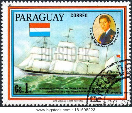 UKRAINE - CIRCA 2017: A postage stamp printed in Paraguai shows sailing ship Sindia and portrait of Prince Charles from the series Wedding of Prince Charles and Lady Diana Spencer circa 1981