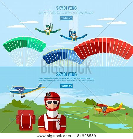 Skydiver jumps from an airplane vector. Skydivers are falling above the cloud teamwork banner extreme sport