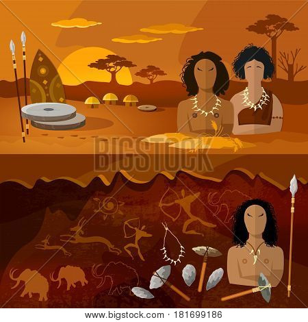 Stone age neanderthal family in a cave prehistoric tool. Neolithic paleolith mesolith beginning of a civilization. Caveman art. Cave man and cave woman banner