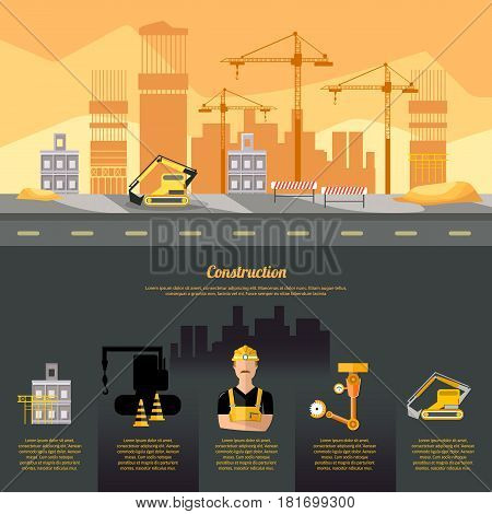 Construction site infographics construction equipment builder on building site design template industrial background