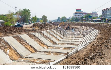 Thailand March 121017: Construction of a canal for rural water delivery in Thailand