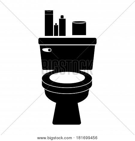 monochrome silhouette of toilet and toilet paper and beauty products vector illustration