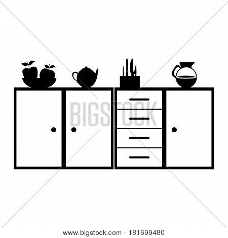 monochrome silhouette of kitchen shelf and drawers and tea kettle and coffee jar vector illustration