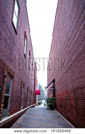 old brick alley in old town during day